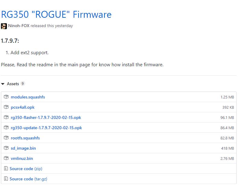 RG350 Rogue cfwダウンロード