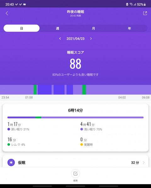 MiBand6 睡眠データ